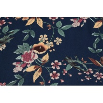 Viscose 100%, twill, flowers on a navy blue background