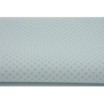 Cotton 100% mint polka dots 3mm on a white background