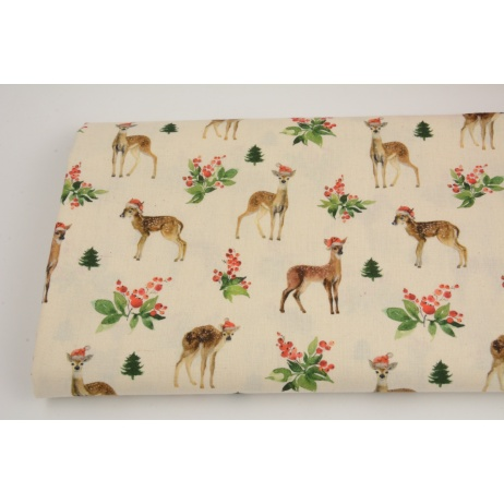 Cotton 100%, deer and holly on a natural background GOTS