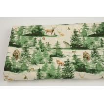 Bawełna 100%, dzikie zwierzęta w malowanym lesie na naturalnym tle GOTS