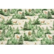 Cotton 100%, wild animals in a painted forest on a natural background GOTS