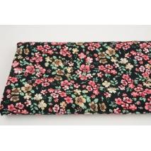 Tkanina wiskozowa, różowo-beżowe kwiatki na czarnym tle