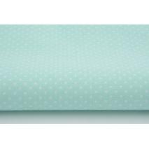 Bawełna 100% NOWE kropki białe 2mm na miętowym tle