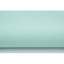 Cotton 100% white 2mm polka dots on a mint background