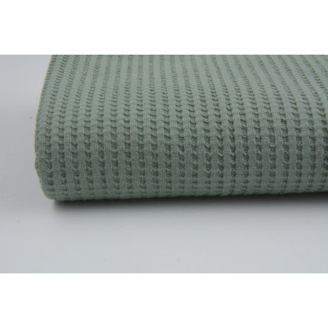Knitted waffle fabric plain sage
