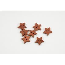 Wooden button, star, ginger brown