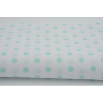 Cotton 100% mint polka dots 7mm on a white background