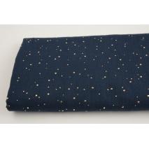 Double gauze 100% cotton golden mini dots on a navy blue background