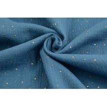 Muślin bawełniany, ciemny niebieski w złote mini kropki