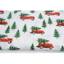 Cotton 100% cars with Christmas trees DP