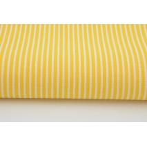 Bawełna żółte paski 2x1mm na białym tle