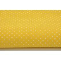 Bawełna 100% kropki białe 2mm na żółtym tle