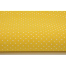 Cotton 100% white 2mm polka dots on yellow background
