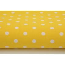 Bawełna 100% kropki białe 7mm na żółtym tle