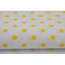 Bawełna 100% żółte kropki 7mm na białym tle
