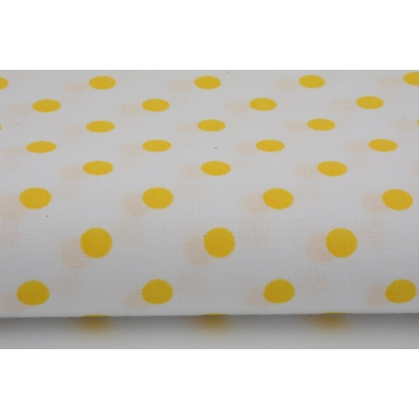 Cotton 100% yellow polka dots 7mm on a white background