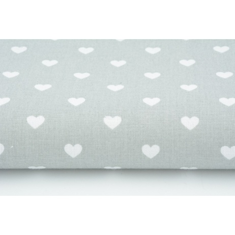 Cotton 100% white hearts on a light gray background