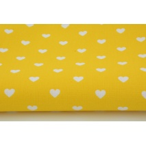 Cotton 100% hearts on a yellow background