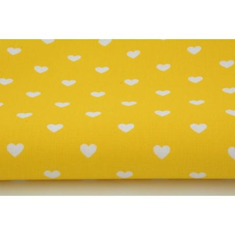 Bawełna 100% serduszka białe na żółtym tle