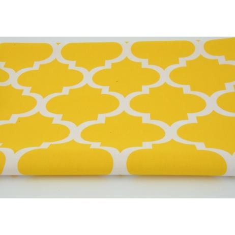 Cotton 100% moroccan trellis on a yellow background