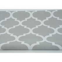 Cotton 100% moroccan trellis on a light gray background