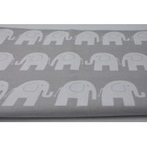 Cotton 100% white elephants on a gray background
