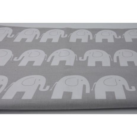 Bawełna 100% słonie na szarym tle