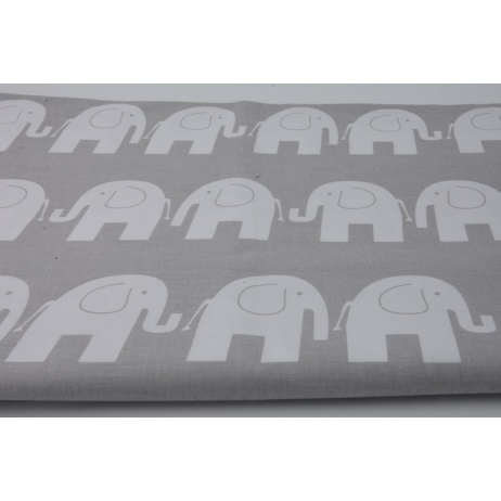 Cotton 100% white elephants on a gray background