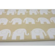 Cotton 100% white elephants on a beige background