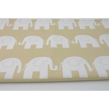 Bawełna 100% słonie na beżowym tle