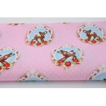 Bawełna 100% sarenki + kropki na różowym tle