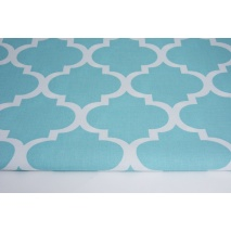 Cotton 100% moroccan trellis on a turquoise background