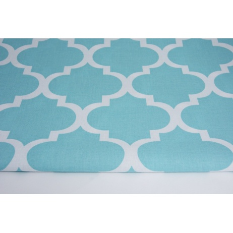 Cotton 100% moroccan trellis on turquoise background
