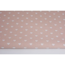 Cotton 100% white hearts on a powder pink background