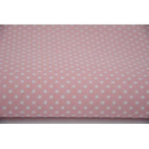 Cotton 100% white polka dots 2mm on a coral background