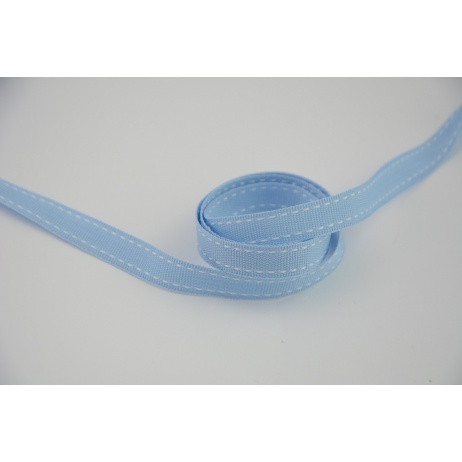 Stitched grosgrain turquoise ribbon 10mm