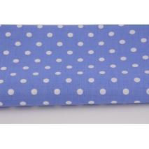 Bawełna 100% kropki białe 7mm na ciemnoniebieskim tle