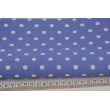 Bawełna 100% kropki białe 7mm na c.niebieskim tle