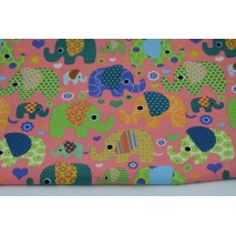 Cotton 100% colorful elephants on a watermelon background