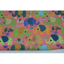 Bawełna 100% kolorowe słoniki na arbuzowym tle