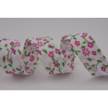 Lamówka bawełniana różowa łączka