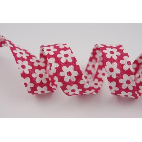 Cotton bias binding raspberry flowers
