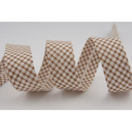 Cotton bias binding brown small check pattern