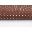 Bawełna kropki 1,5mm na brązowym tle