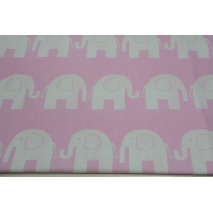 Cotton 100% white elephants on pink background