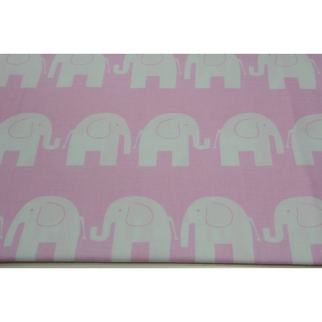 Bawełna 100% słonie na różowym tle