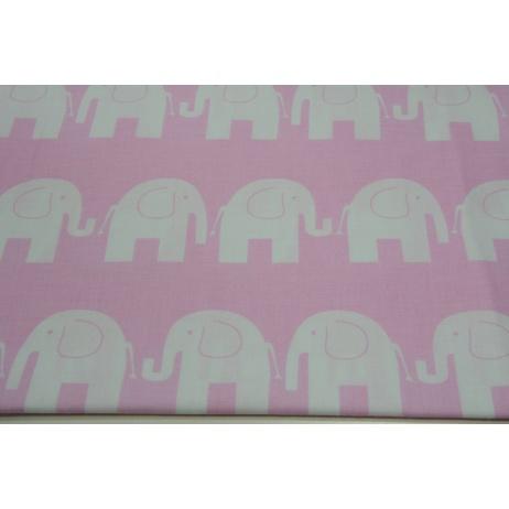 Cotton 100% white elephants on pink background