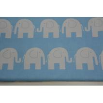 Bawełna 100% słonie na niebieskim tle