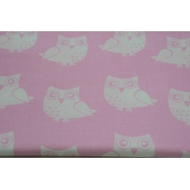 Cotton 100% white owls on a pink background