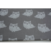 Cotton 100% white owls on gray background